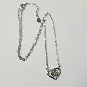Jewelry - 925 Sterling Silver Heart Rose Pendant Necklace